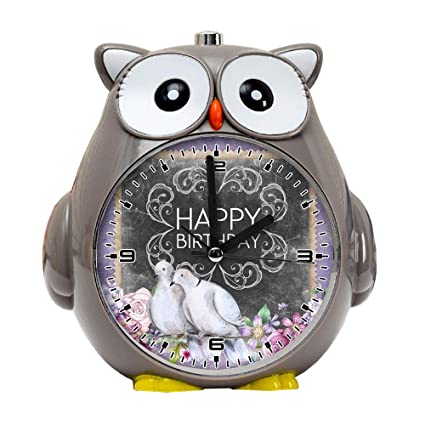 Girlsight1 Owl Alarm Clock For Kids Silent Non Ticking Cartoon Quartz Loud