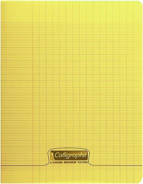 Calligraphe 18124c Gamme 8000 Un Cahier Piqué 17x22 Cm 96 Pages Grands Carreaux Couverture Jaune