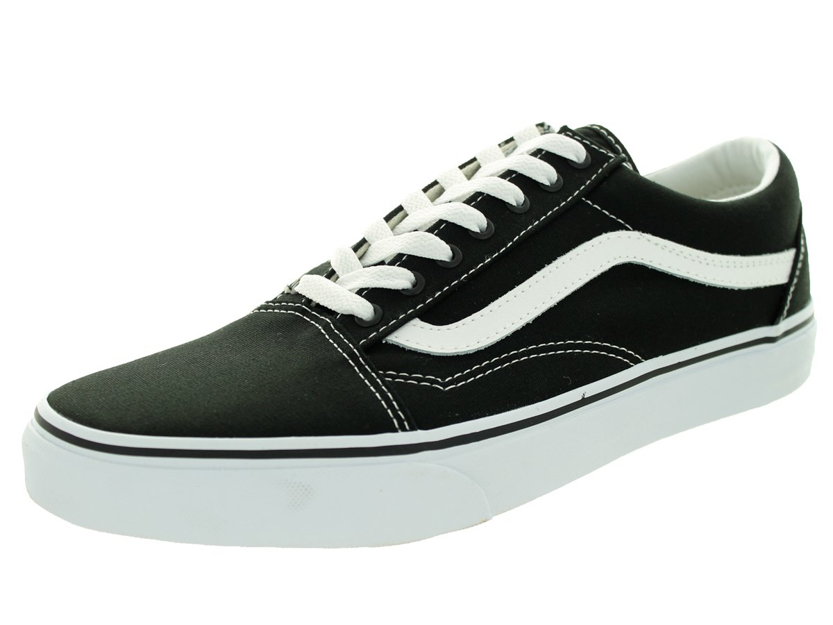 Vans Unisex Old Skool Classic Skate Shoes B000LOMNRS 7.5 US Men / 9 US Women|(Canvas) Black/True White