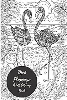 Mini Flamingo Adult Coloring Book Travel To Go Small Portable Stress Relieving Relaxing