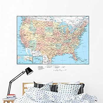 USA United States Map Repositional And Removable Wall Decal - Us map wall decal