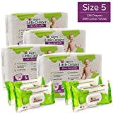 Happy Little Camper Ultra Absorbent Hypoallergenic Natural Diapers, Size 5 (+27 lbs), 136 Count, Non-GMO Cotton Wipes, 288 Count, Monthly Supply Combo Bulk Pack