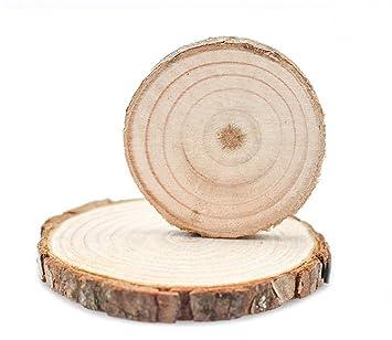 Dohuge 15 Stück Holzscheiben Unvollendete Natürliche Holz Scheiben 2,76  U0026quot; 3,