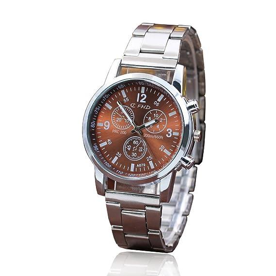 VEHOME Relojes Inteligentes relojero Reloj reloje hombresRelojes de Pulsera Marcas Deportivos-Reloj análogo de Cuarzo Deportivo de Acero Inoxidable con Hora ...