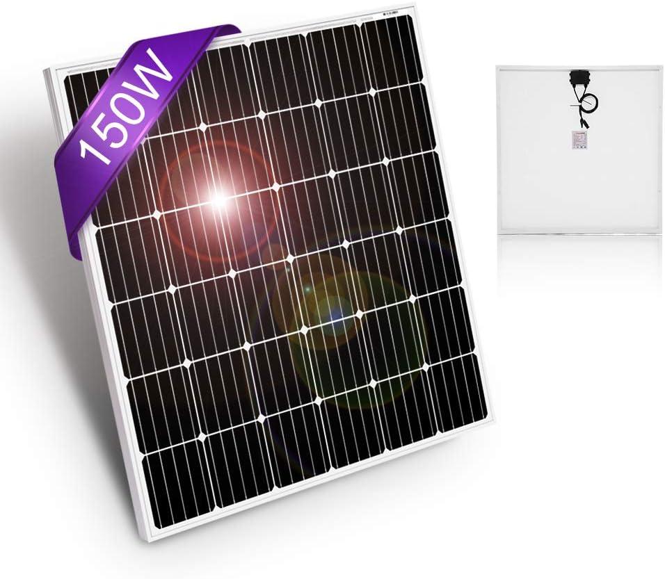 DOKIO 150 Watt 12 Volt 18volt Monocrystalline Solar Panel High Efficiency Module for RV, Boat, Home Off Grid System