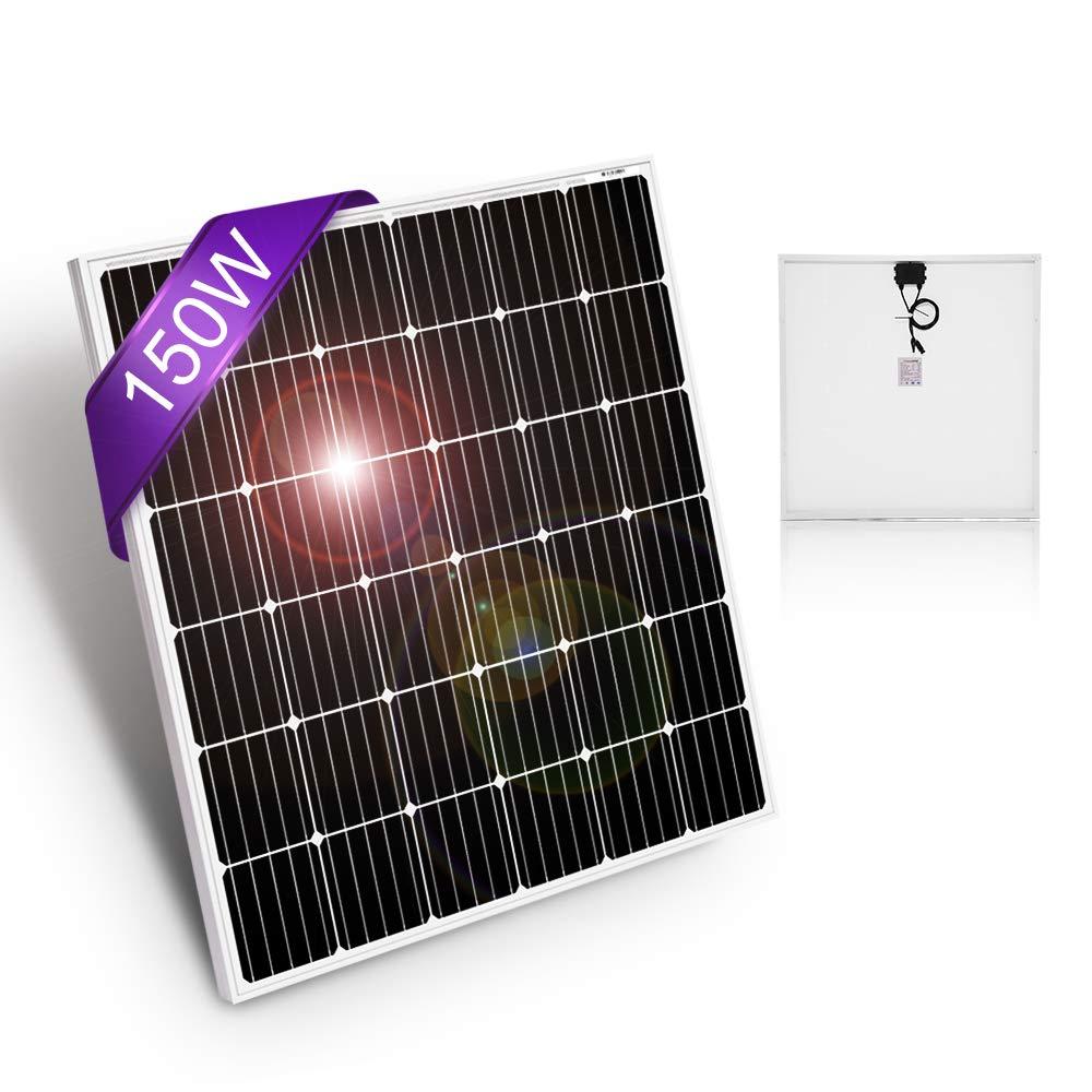 DOKIO 150 Watt 12 Volt / 18volt Monocrystalline Solar Panel High Efficiency Module for RV, Boat, Home Off Grid System by DOKIO