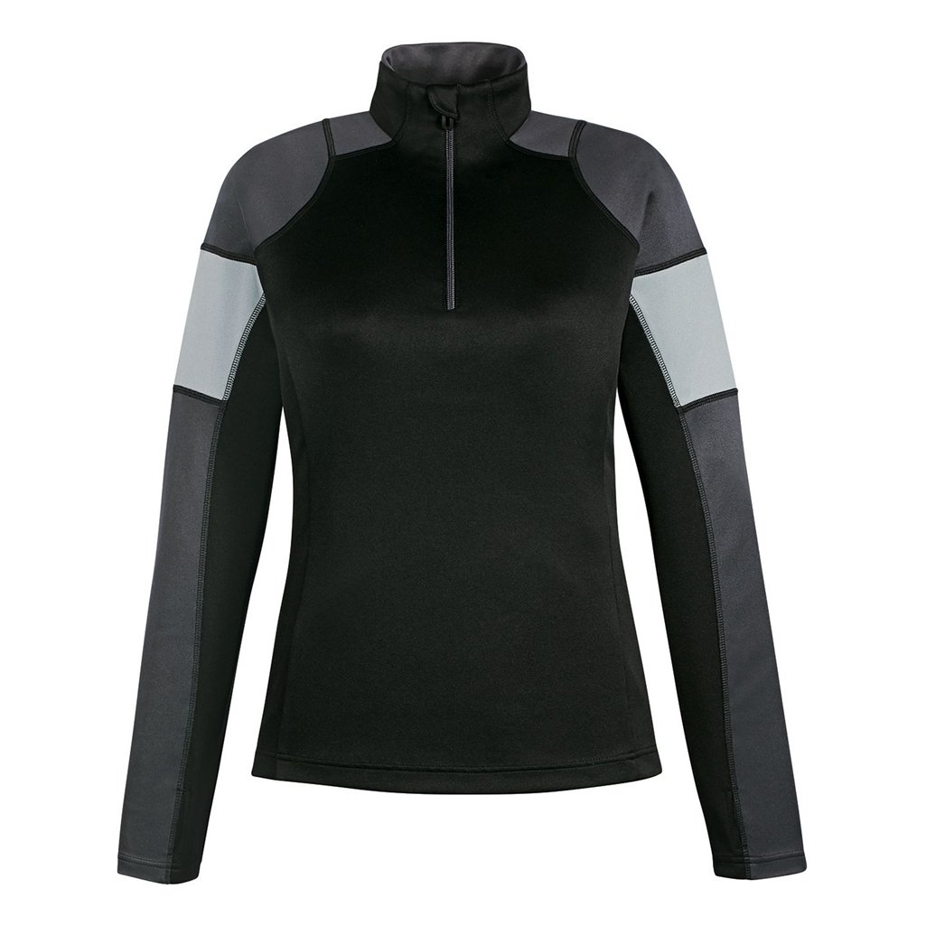Ash City Apparel North End Quick Ladies Performance Interlock Half-Zip (XX-Large, Black/Carbon/Platinum) by Ash City Apparel