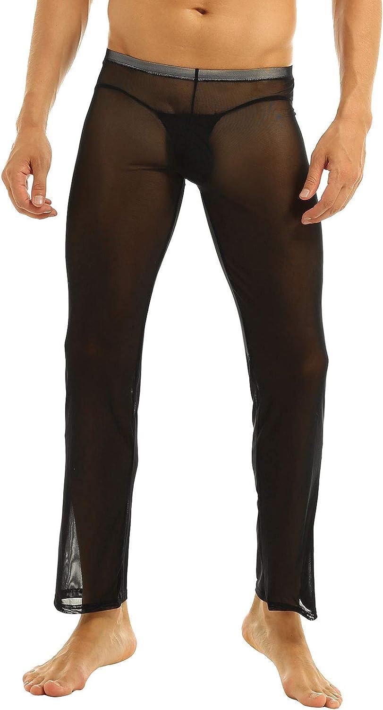 iEFiEL Men's Pajamas Mesh See Through Home Lounge Pants Nightwear