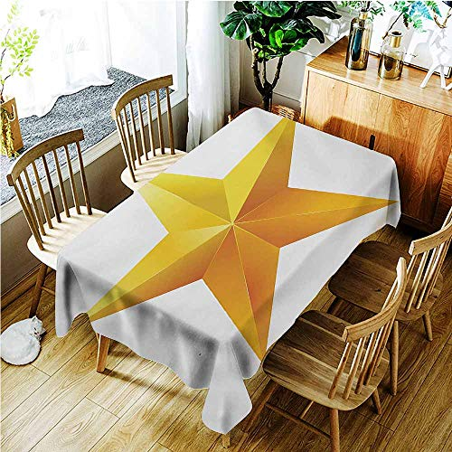 TT.HOME Small Rectangular Tablecloth,Yellow Single Gold Colored Star on Plain Background Christmas Celebration Inspired Print,Table Cover for Dining,W54x90L,Yellow - Single Layer Rosette