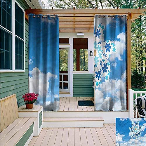 - Beihai1Sun Outdoor Curtains,Pinwheel Cloudy Sky Sun Landscape,for Patio/Front Porch,W84x84L