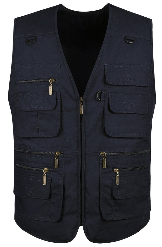 Mrignt Men's Oversize Pockets Travels Sports Outdoor Denim Vest(US L (Asia 3XL),Navy Blue)
