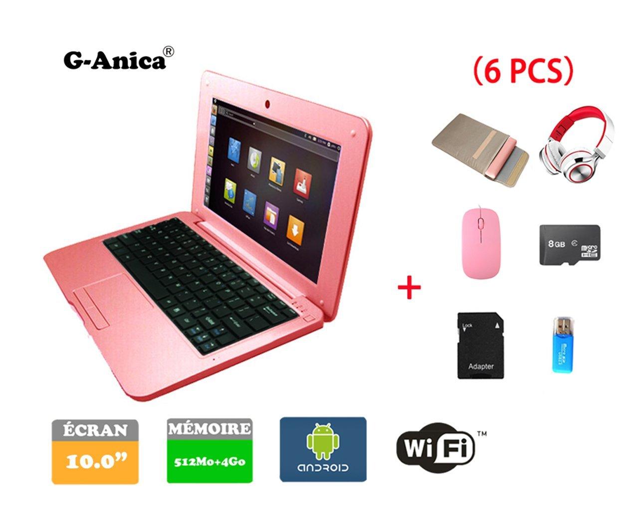 G-Anica Netbook Ordenador portátil Android 4.4.2 (WIFI, 1.5GHz 512MB de RAM, 4GB de disco duro),Bolsa de ordenador portátil+Ratón+Adaptar+Tarjeta SD+Lector ...