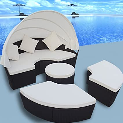 Incroyable Anself 2 In 1 Poly Rattan Sofa Sunbed Round Outdoor Sofa Set With  Retractable