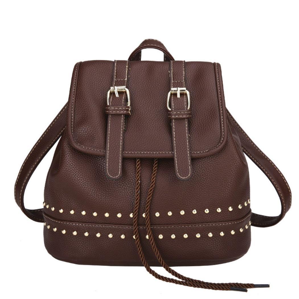 YJYDADA Fashion Women Girl Vintage Backpack Rivet Decoration Travel Rucksack School Bag (Coffee)