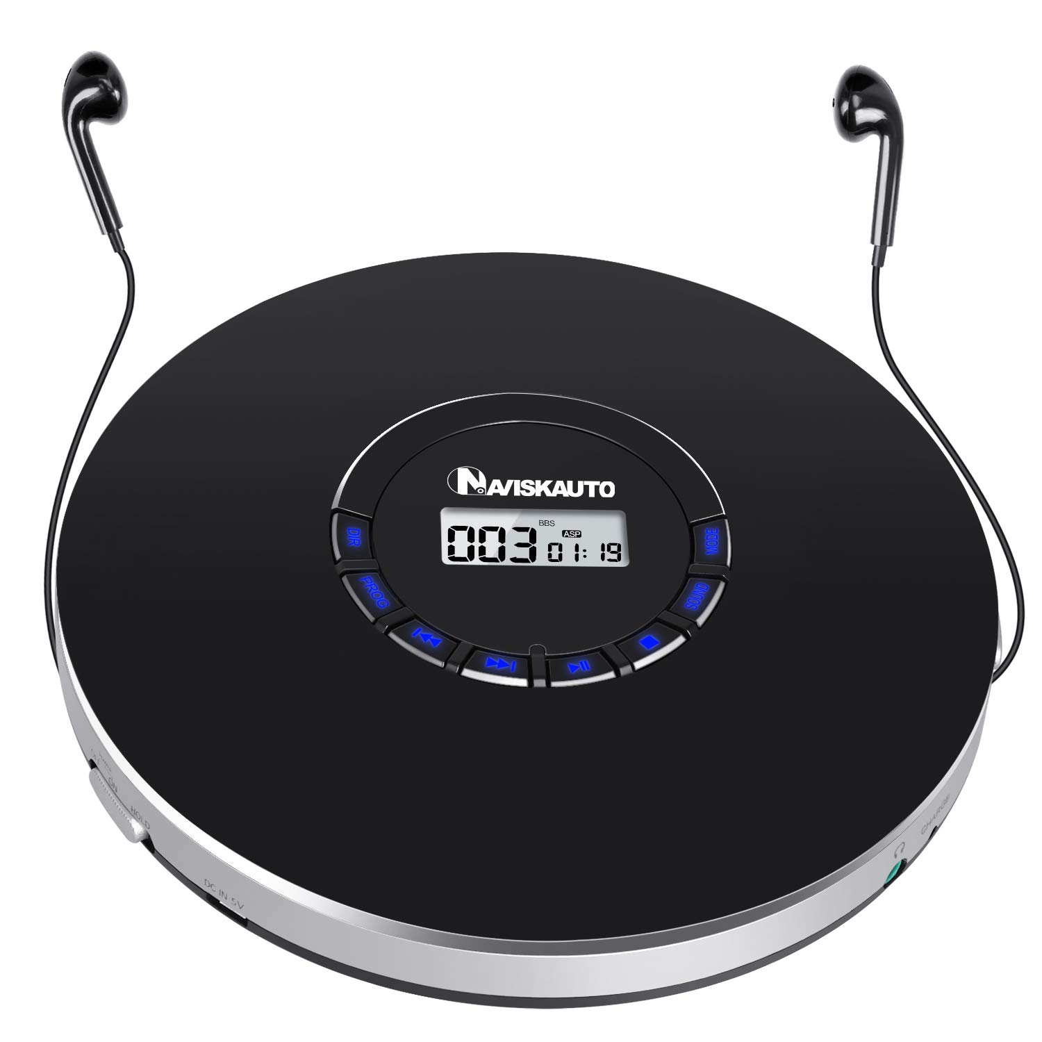 Portable CD Player with Headphones, 2000mAh Rechargeable CD Player for Car with LED Backlit Display, 18 Hours Playing Time, Shockproof, 3.5mm AUX Cable