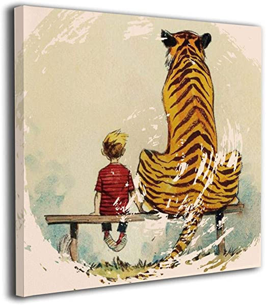 NICHOLAS TOMLINSON Calvin and Hobbes Thomas Tiger Bench Custom Canvas  Prints with Personalized Canvas Pictures for Living Room Bedroom Office  Home ...