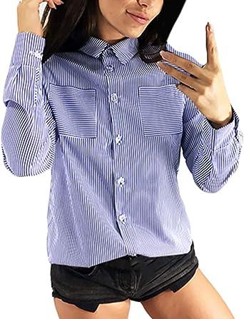Mujer Camisas Flecos Camisas Vintage Primavera Tops Otoño Manga Larga De Solapa Un Solo Pecho Ocasional Anchas Blusas Camicia Bluse: Amazon.es: Ropa y accesorios