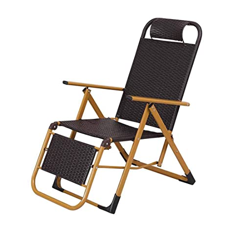 Amazon.com : Folding Recliner Chair Rattan Deck Chairs Zero Gravity ...