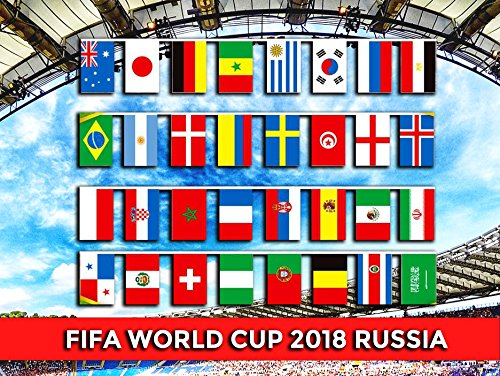 Extra Large Size FIFA 2018 World Cup Russia Soccer Football Flag - 32 feet - Bunting String Banner Flags for Party Bar Club Celebration 32 Team Nation Countries (12