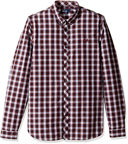 Fred Perry Men's Summer Tartan Shirt, Rosewood, Small by Fred Perry