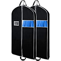 """Zilink Breathable 43"""" 54"""" 60"""" Black Garment Bags for Travel with Gusseted for Suit Dress Coat"""