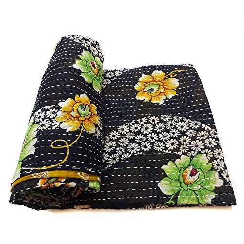 Vintage Kantha Quilt Reversible Indian Cotton Bedspread Blanket Bedding Throw