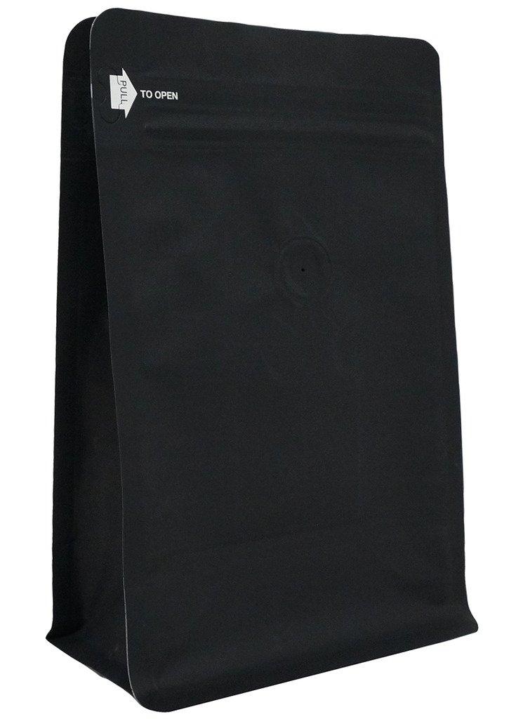 12 oz. Matte Black Foil Square Bottom Gusseted Bag w/ E-Zip & Valve (Block Bottom Bag, Flat Bottom Bag)