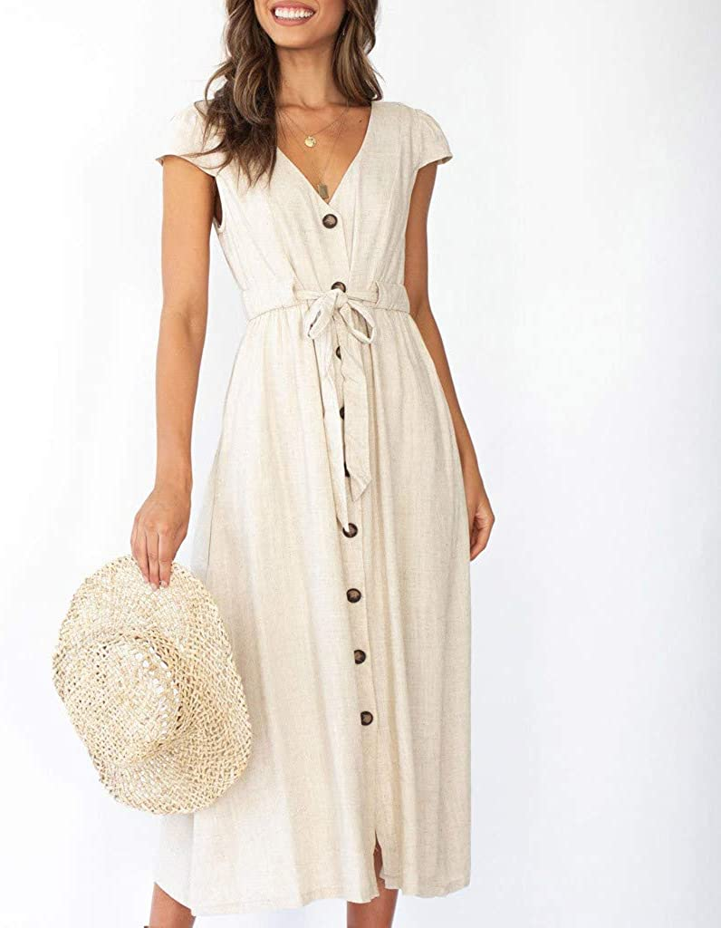 Mikilon Womens Strap Button Up Ruffle Plain Backless Flowy Party Maxi Dress with Belt