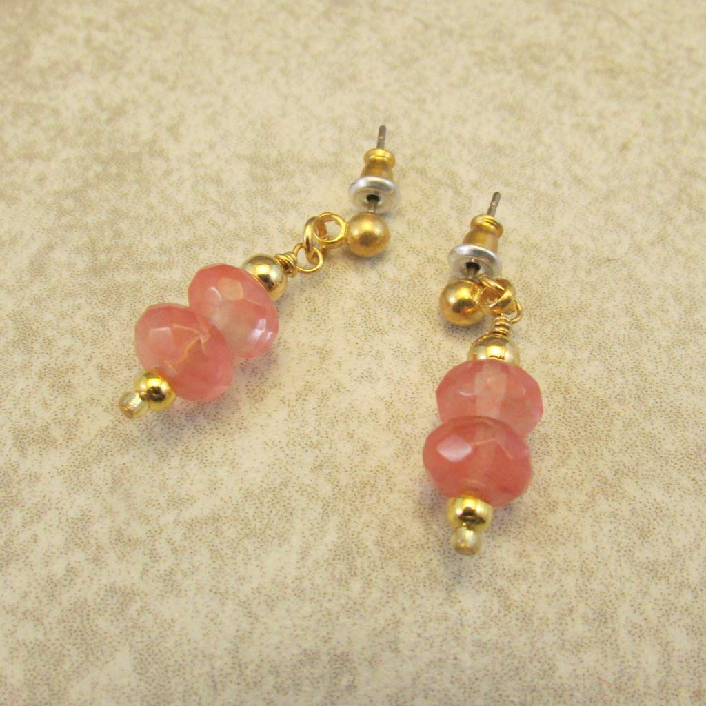 Pink Tourmaline Faceted Rondelle Drop Earrings October Birthstone Pink Earrings Stress Chakra