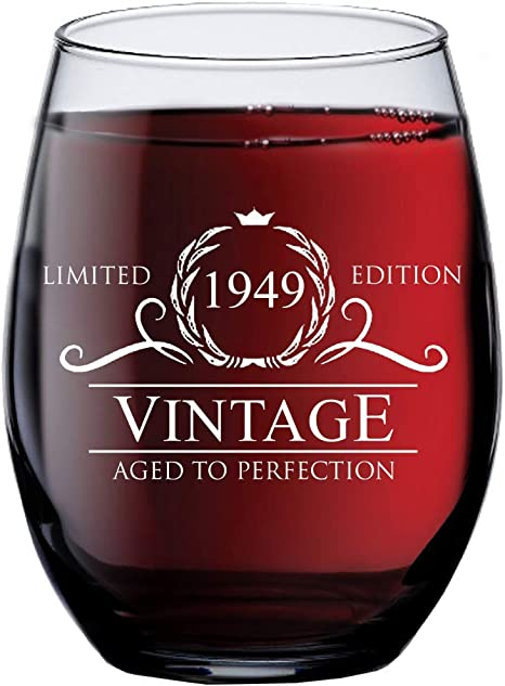 Party Decorations and Supplies for Him or Her Vintage 1949 Wine Glass Funny Seventieth Gift Ideas Wife 70th Birthday Gifts for Women and Men Turning 70 Years Old Dad Husband Mom 15 oz