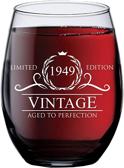 Home Kitchen Dining Dad Funny Seventieth Gift Ideas Mom Husband Wife Vintage 1949 Wine Glass 15 Oz 70th Birthday Gifts For Women And Men Turning 70 Years Old Party Decorations And