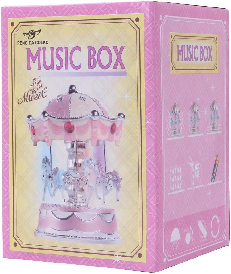 Kid Gift Toy Musical Plays Wedding Home Decor Rockrok Carousel Music Box