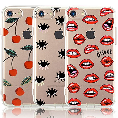 iPhone 7 Case, iPhone 8 Case, [3-Pack] CarterLily Eyes and Lips Design Pattern Soft Clear Flexible TPU Back Case for iPhone 7 iPhone 8 - (Lip Case)