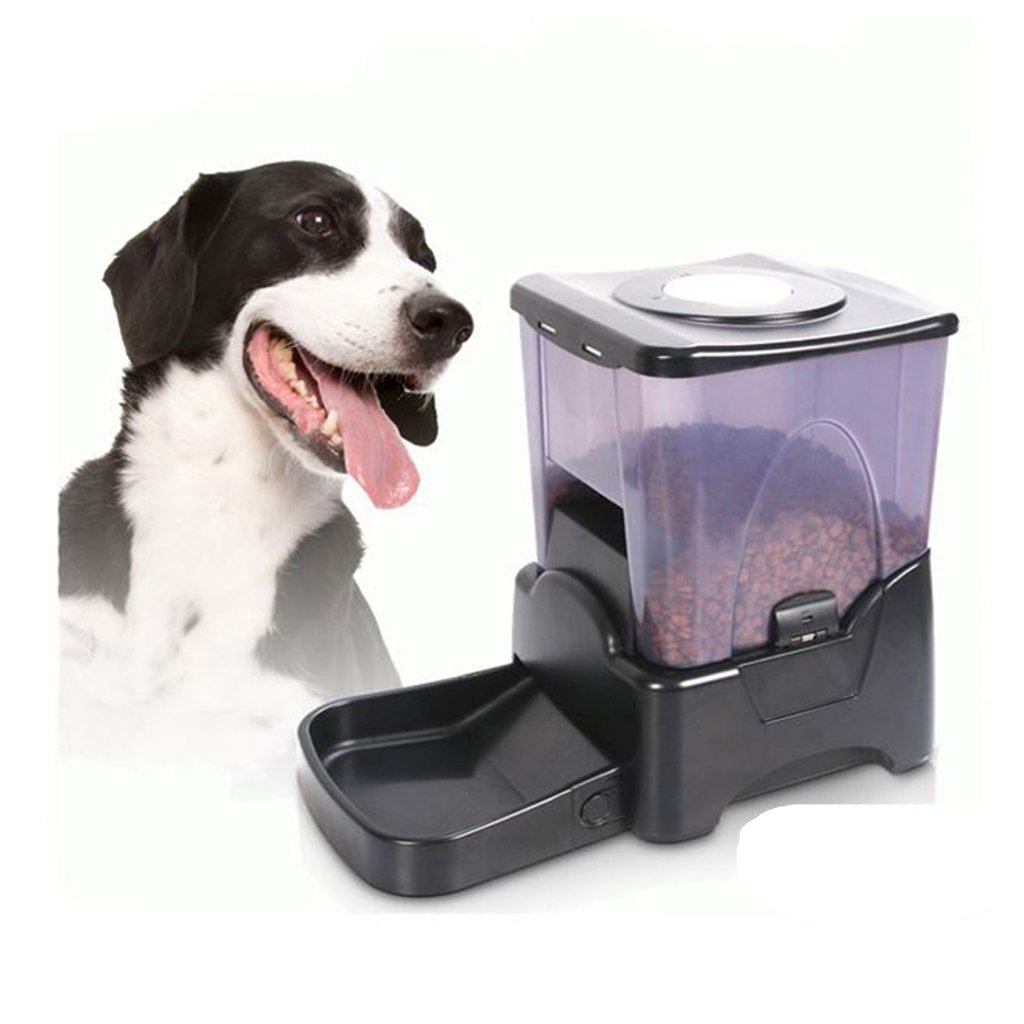 Cacoffay Large Automatic Dog Cat Pet Feeder Programmable Feeder With Intelligent Voice Recorder & Timer Portion Control Auto Feeder(10.65L), Black by Cacoffay (Image #1)
