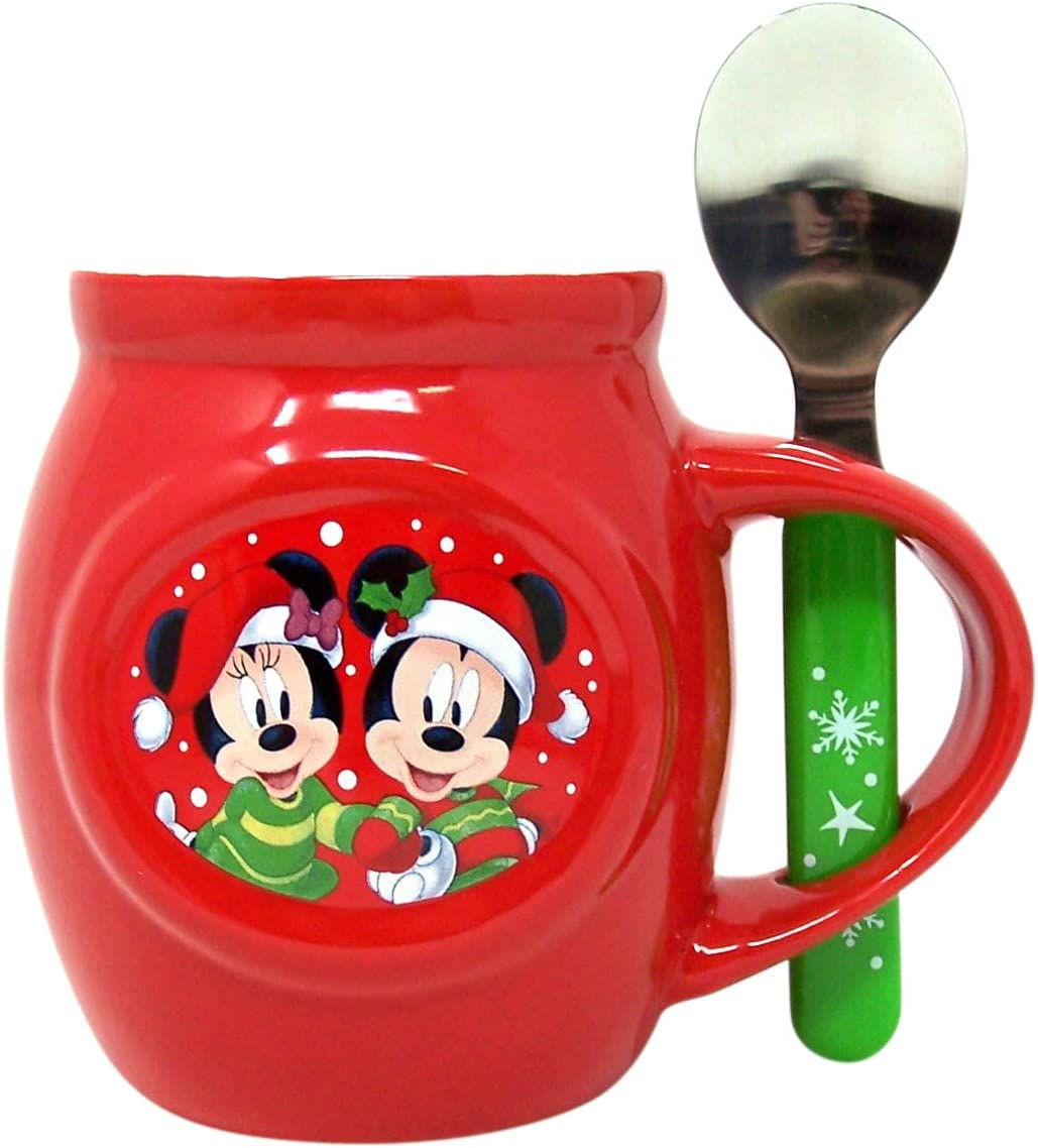 Disney Mickey and Minnie Christmas Mug and Spoon Gift Set with Cocoa Mix and Marshmallows, 1.70 oz