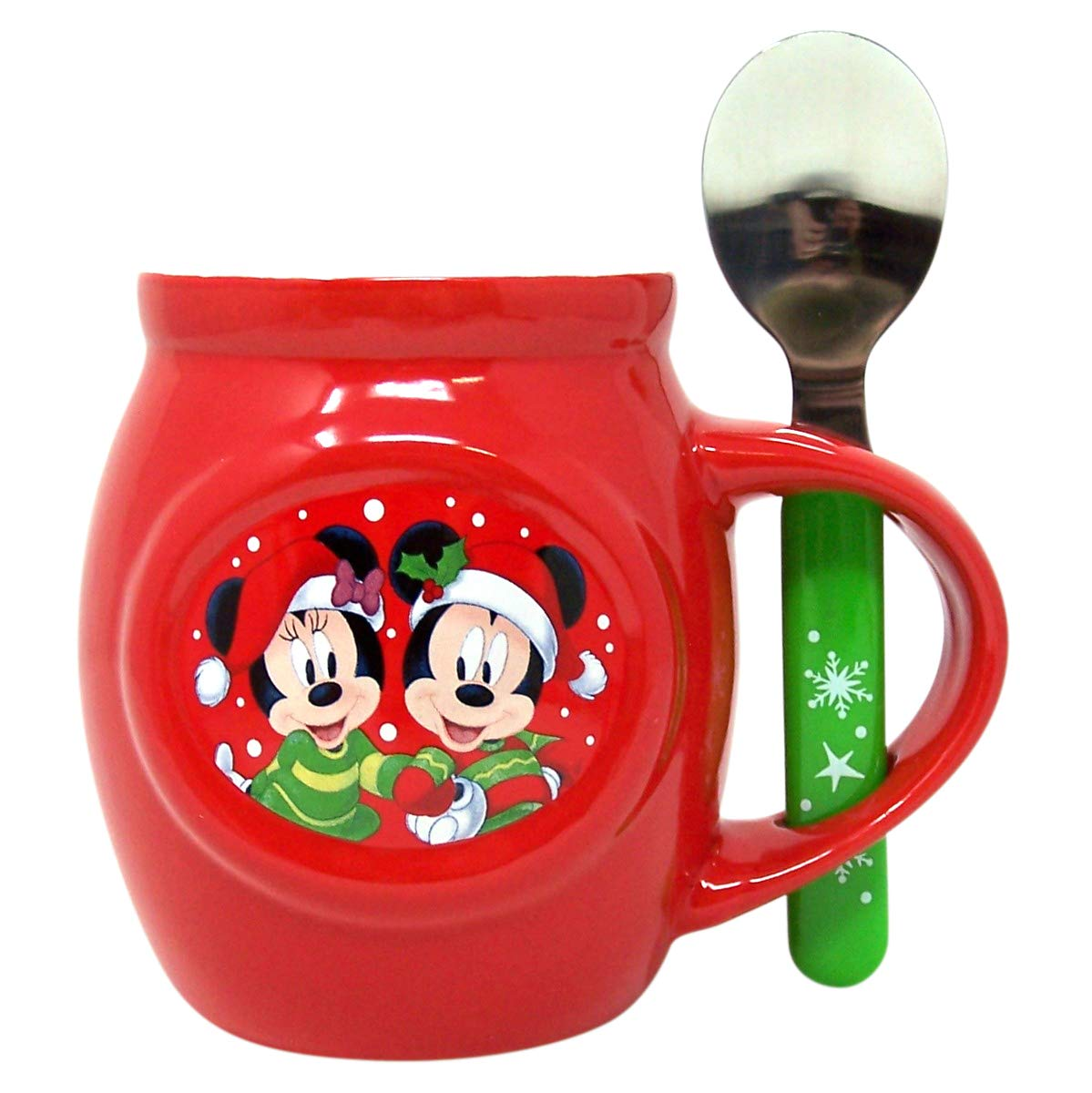Disney Mickey and Minnie Christmas Mug and Spoon Gift Set with Cocoa Mix and Marshmallows  1 70 oz