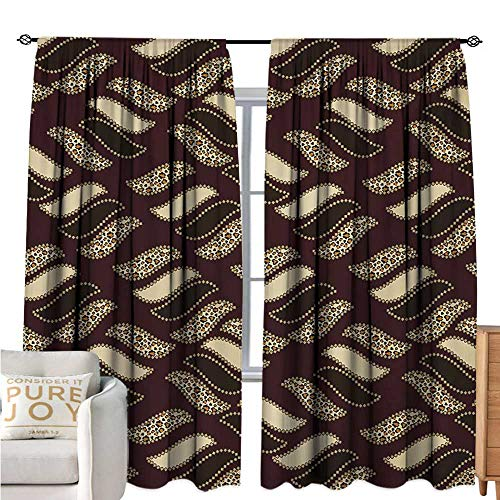 bybyhome AfricanWindshield curtainEthnic African Style Cheetah Skin Texture Pattern Camouflage DesignMildew-Proof Polyester Fabric W72 xL108 Redwood Brown Pale Yellow ()