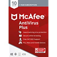 McAfee AntiVirus Protection Plus 2021, 10 Device, Internet Security Software, 1 Year - Key Card