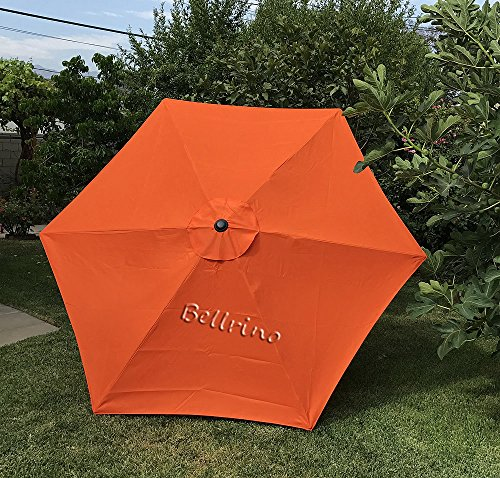 BELLRINO DECOR Replacement STRONG & THICK Umbrella Canopy for 9ft 6 Ribs (Canopy Only) (TANGO ORANGE)