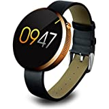 Megadream Bluetooth 4.0 Splash Waterproof Smart Watch with Heart Rate Monitor /Pedometer /Gestures /Voice Control /Anti-lost /Step Recording /Sleep Monitoring/ Self-timer/Sedentariness Reminder-Gold