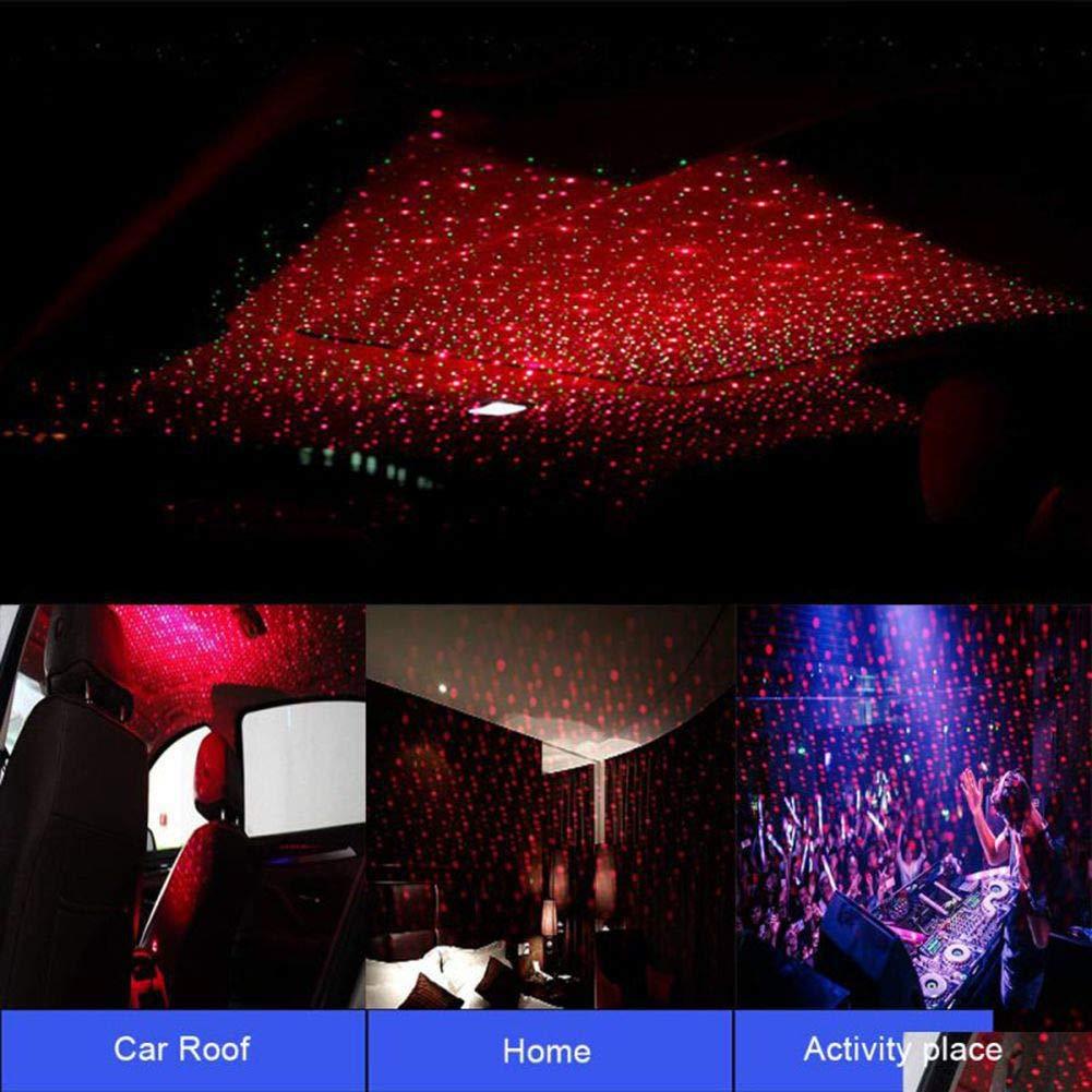 luz de ambiente de coche adecuada para cumplea/ños 1 pcs Balight Roof Star Projection Light Romantic USB Night Light luz de decoraci/ón de techo ajustable y flexible para coche y hogar