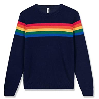 3661c9827 Amazon.com  Kid Nation Kids  Sweater Long Sleeve Rainbow Stripe ...