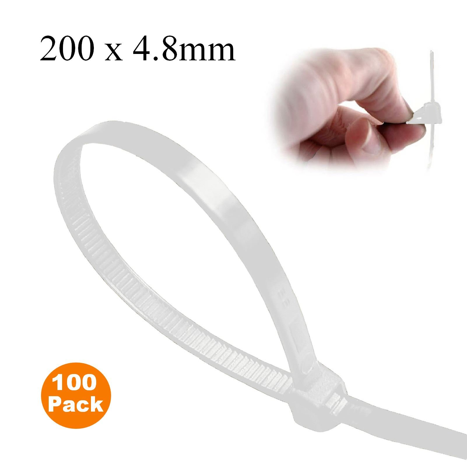 100 x Natural Releasable Cable Ties 200mm x 4.8mm Reusable Wire Tidy Zip Straps