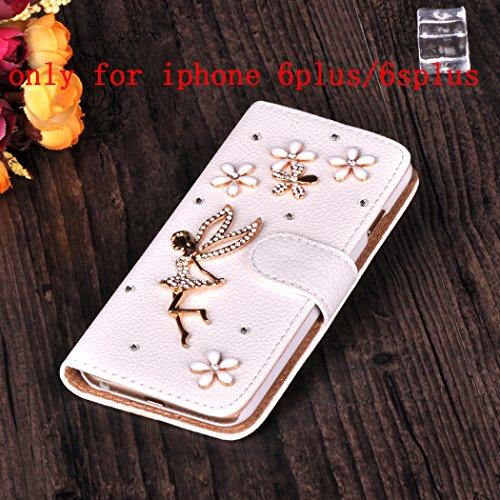 Infinite U Jewellery 3D Strass Cristal Faux Diamant Fleur Ange en Cuir Flip Folio Etui/Coque/Housse/Case de Protection avec Cartes de Crédit Fentes pour iphone 6/iphone 6s Plus (5.5 Pouces)