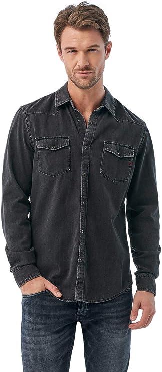 Salsa Camisa Negra Vaquera de fit Slim: Amazon.es: Ropa y accesorios