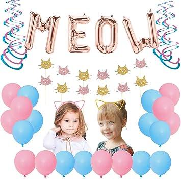 JOYMEMO Decoraciones de cumpleaños Meow Cats Azul Rosado con ...