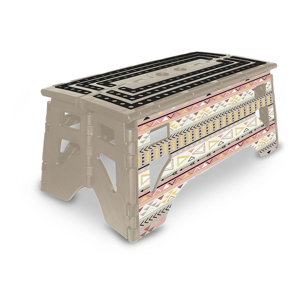 eXpace 13 Inch Wide Plastic Folding Step Stool for Adults, Supports up to 350 lbs, Non Slippery Multipurpose Platform, Tribal Chic