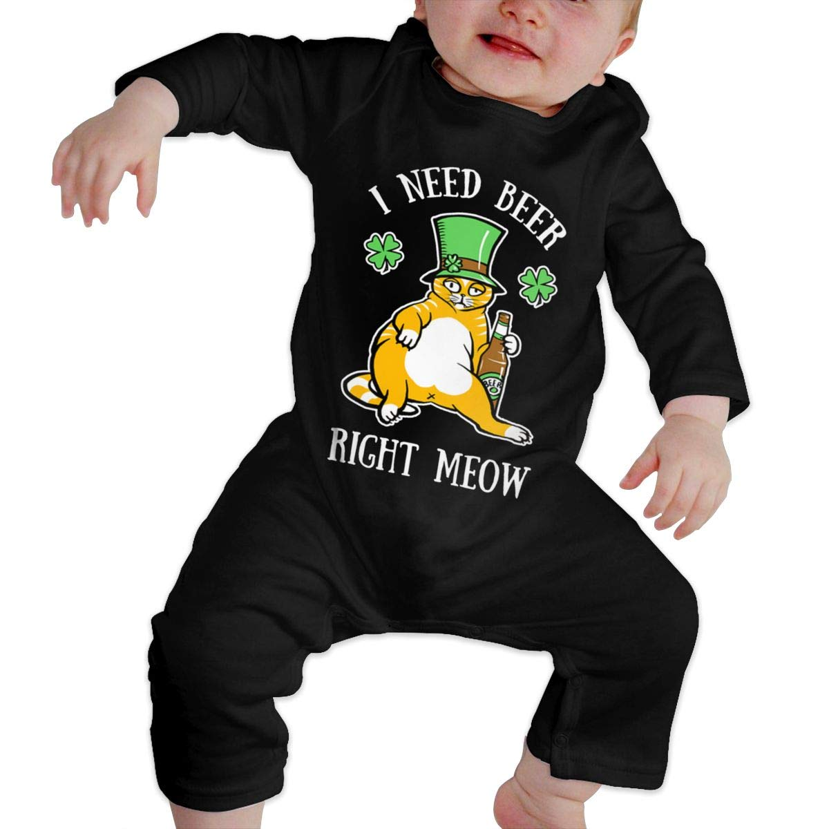 I Need Beer Right Meow Newborn Baby Boy Girl Romper Jumpsuit Long Sleeve Bodysuit Overalls Outfits Clothes