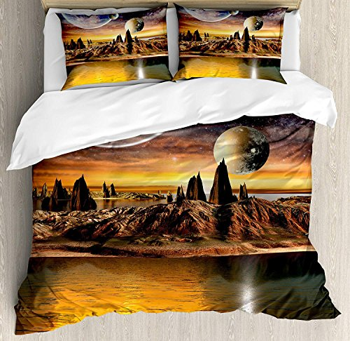 (Beauty Decor Fantasy Duvet Cover Set Alien Planet with Earth Moon and Mountain Fantasy Sci Fi Galactic Future Cosmos Art Microfiber Bedding Sets with Zipper and Corner Ties Multi (4 Pcs, Full))