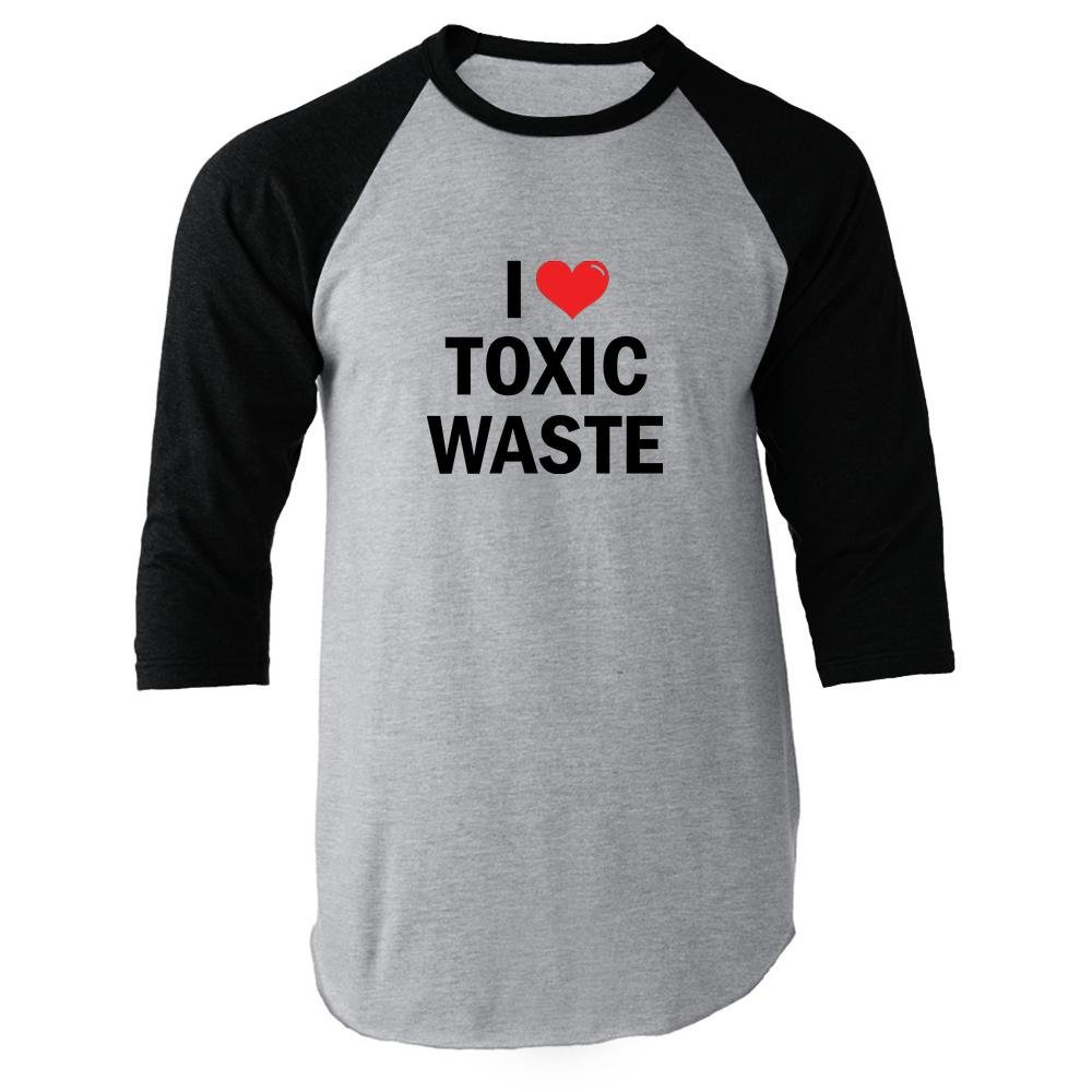 I Love Toxic Waste Black XL Raglan Baseball Tee